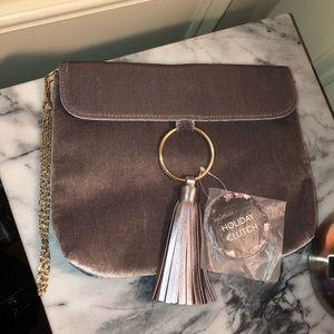 Light Plum velvet clutch purse.